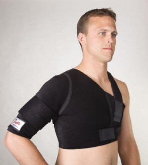 Traditional shoulder braces have forced you to sacrifice either stability or function. Now you can have both! On the outside, elastic straps attach with hook to the neoprene at any point, in any direction, and with any amount of force you choose. You can functionally stabilize, assist or restrict movement according to the specific needs of each athlete. On the inside, the perforated, breathable, rubber-like neoprene grips the skin so the support moves with the athlete. It's as if the stabilization straps are attached directly to the body.  Worn by professional and amateur athletes in all sports.