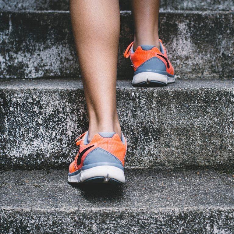 Runner on stone steps