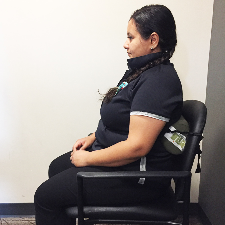 corrected posture in chair
